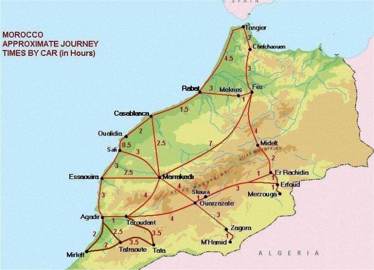 Tiempo de desplazamiento entre las principales ciudades de Marruecos