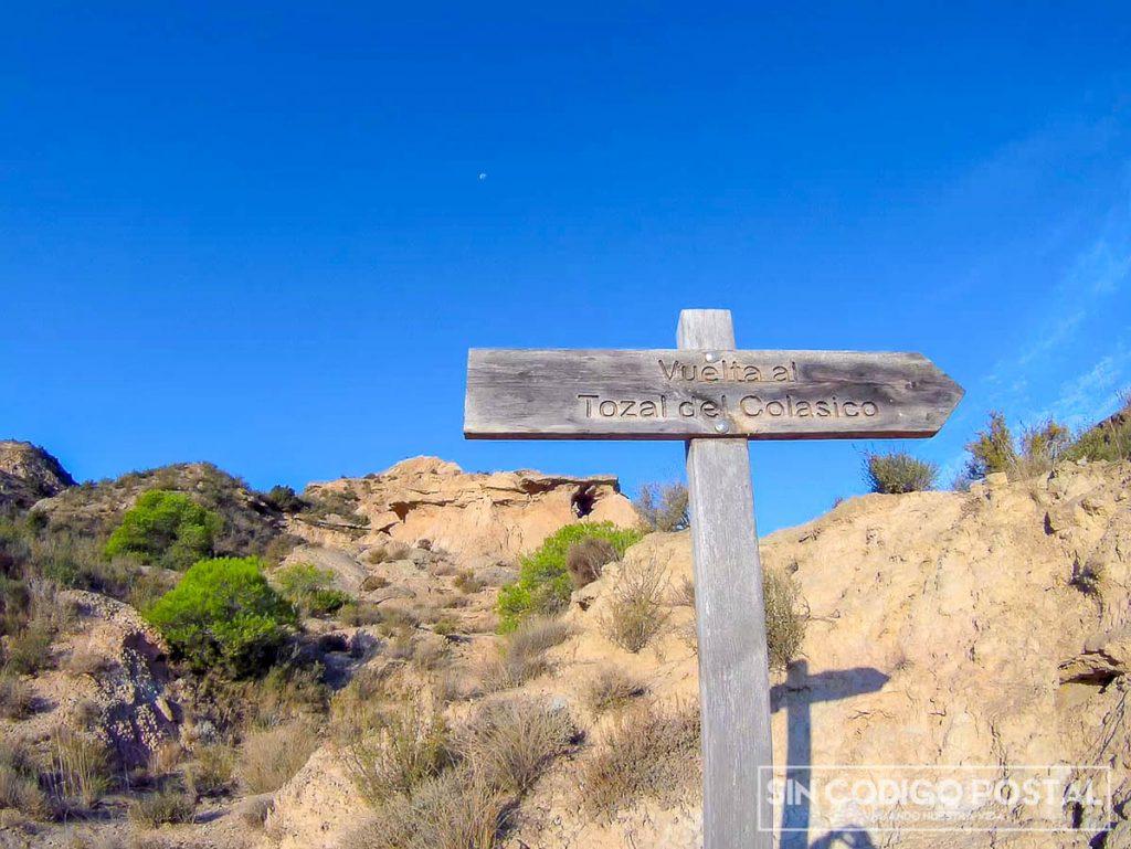 Señal ruta Juvierre, en los Monegros