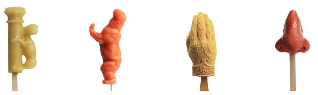 Helados con formas y figuras de la heladería Rocambolesc