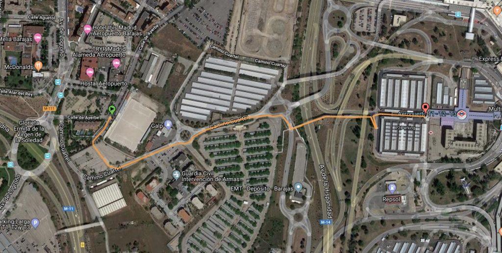 Ruta para llegar andando y no pagar parking en el aeropuerto de Madrid
