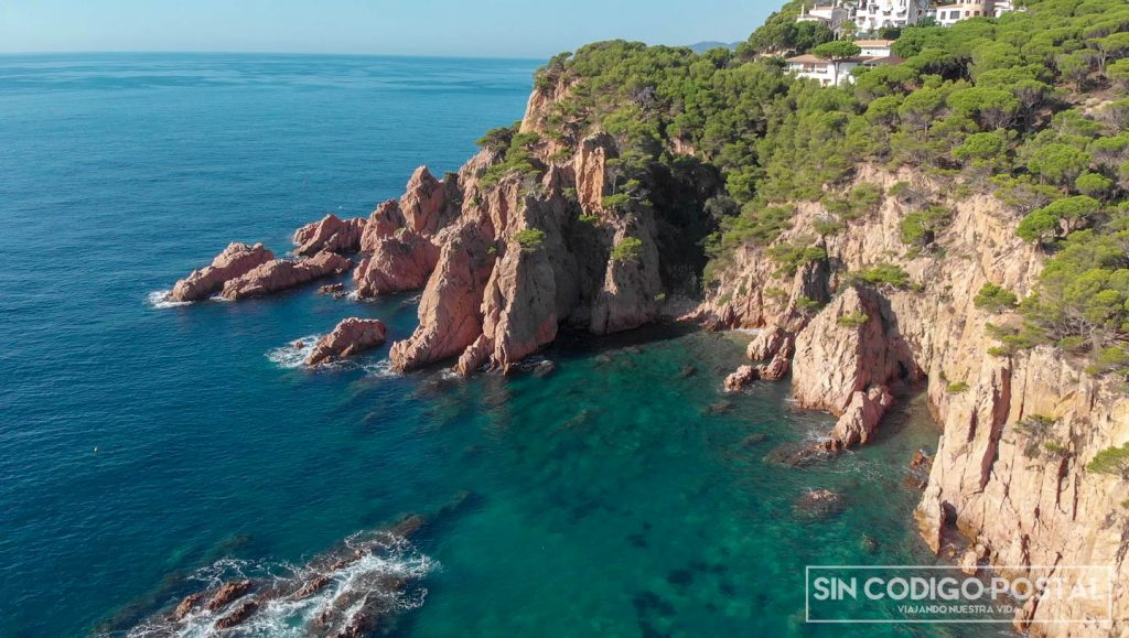 Vista aérea de la vía ferrata de Sant Feliu de Guixols (Cala de Molí)