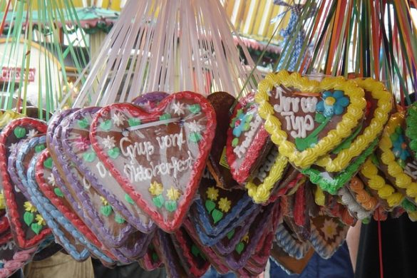 Típicos corazones de galleta de jengibre en Munich