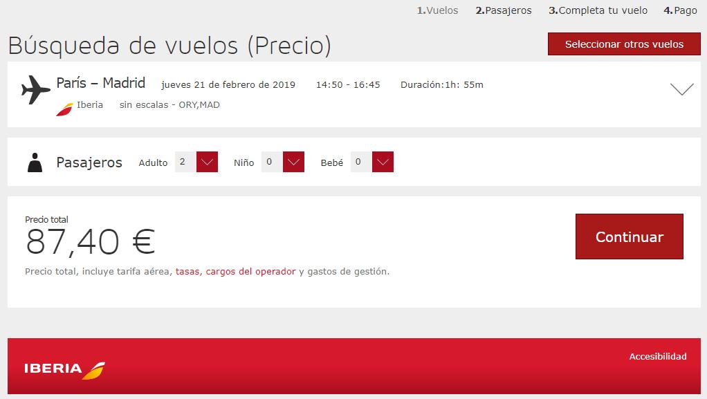Página de reserva de Iberia, donde en este caso se completa la compra del vuelo