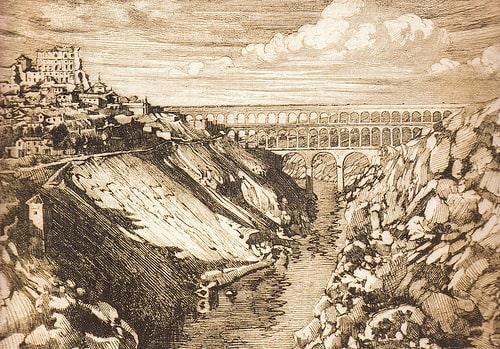 Recreación de cómo debió ser el acueducto en tiempos romanos