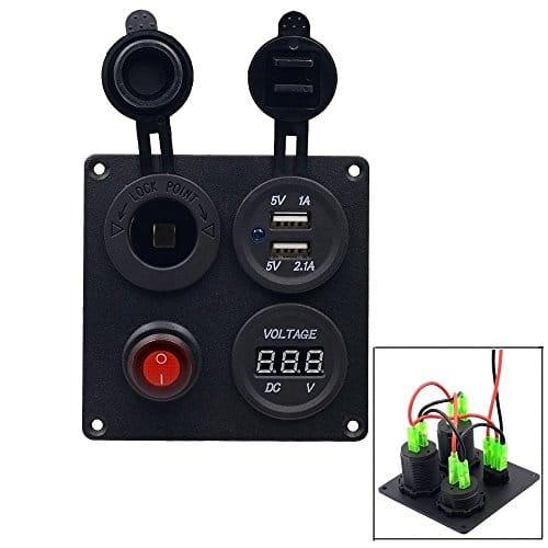 TurnRaise-Impermeable-USB-Cargador-Voltmetro-Digital-LED-Interruptor-Encendedor-de-Cigarrillos-para-Coche-Barco-0