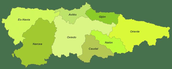 Mapa con las comarcas de Asturias