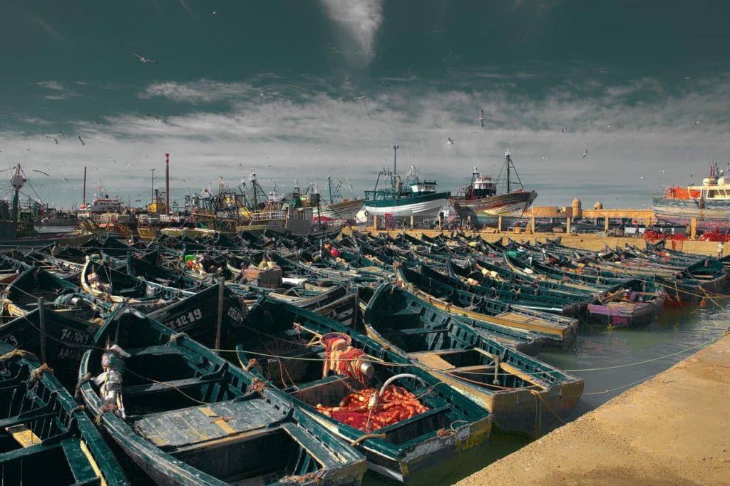 Zona del puerto con sus características barcas
