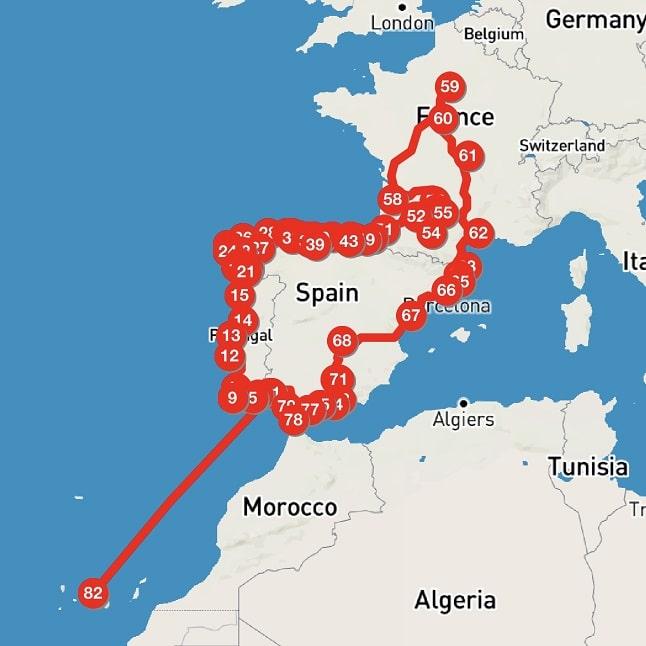 Nuestra ruta por la península y Francia