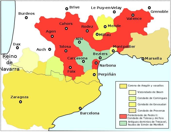 Mapa con la zona de influencia cátara en el mediodia francés