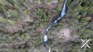 Cascadas de Barbiano desde el aire