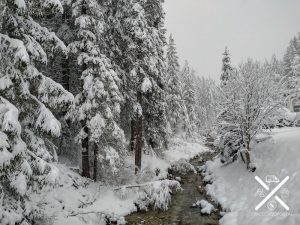 Paisaje invernal de los Dolomitas