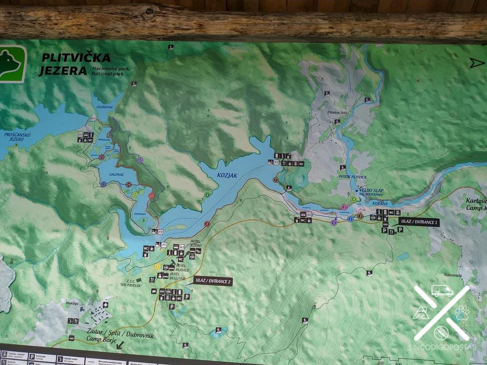 Mapa de los recorridos del Parque Natural de Plitvice