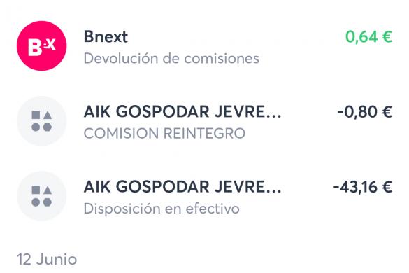 Devolución de comisiones con la tarjeta de Bnext