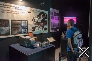 Sismógrafo dentro del Museo del terremoto de Skopje