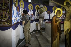Obras dentro del Templo de San Sava