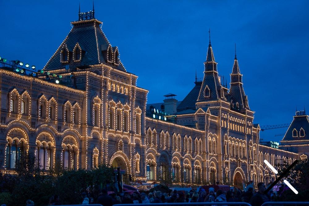 Galería de lujo GUM por la noche