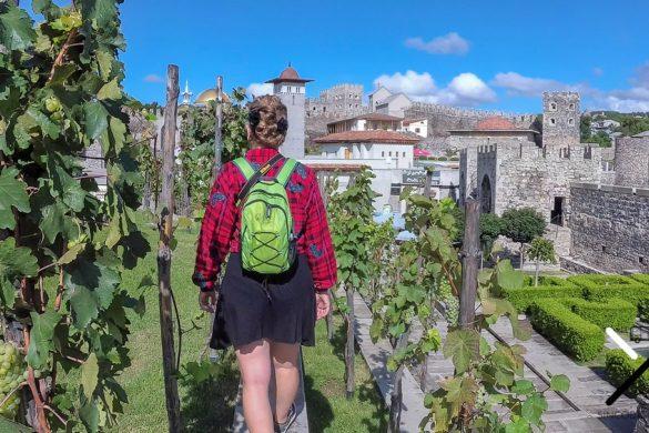 Pasear por los viñedos dentro de la parte gratuita del Castillo de Rabati