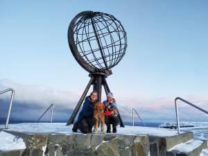 Foto en Cabo Norte, Noruega. Nuestro objetivo del viaje por Europa