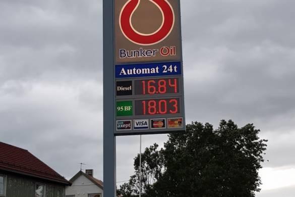 Panel de precios de gasolina en Tromso