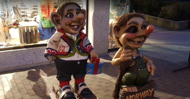 Trolls con los que hacerse una foto en la calle Storgata