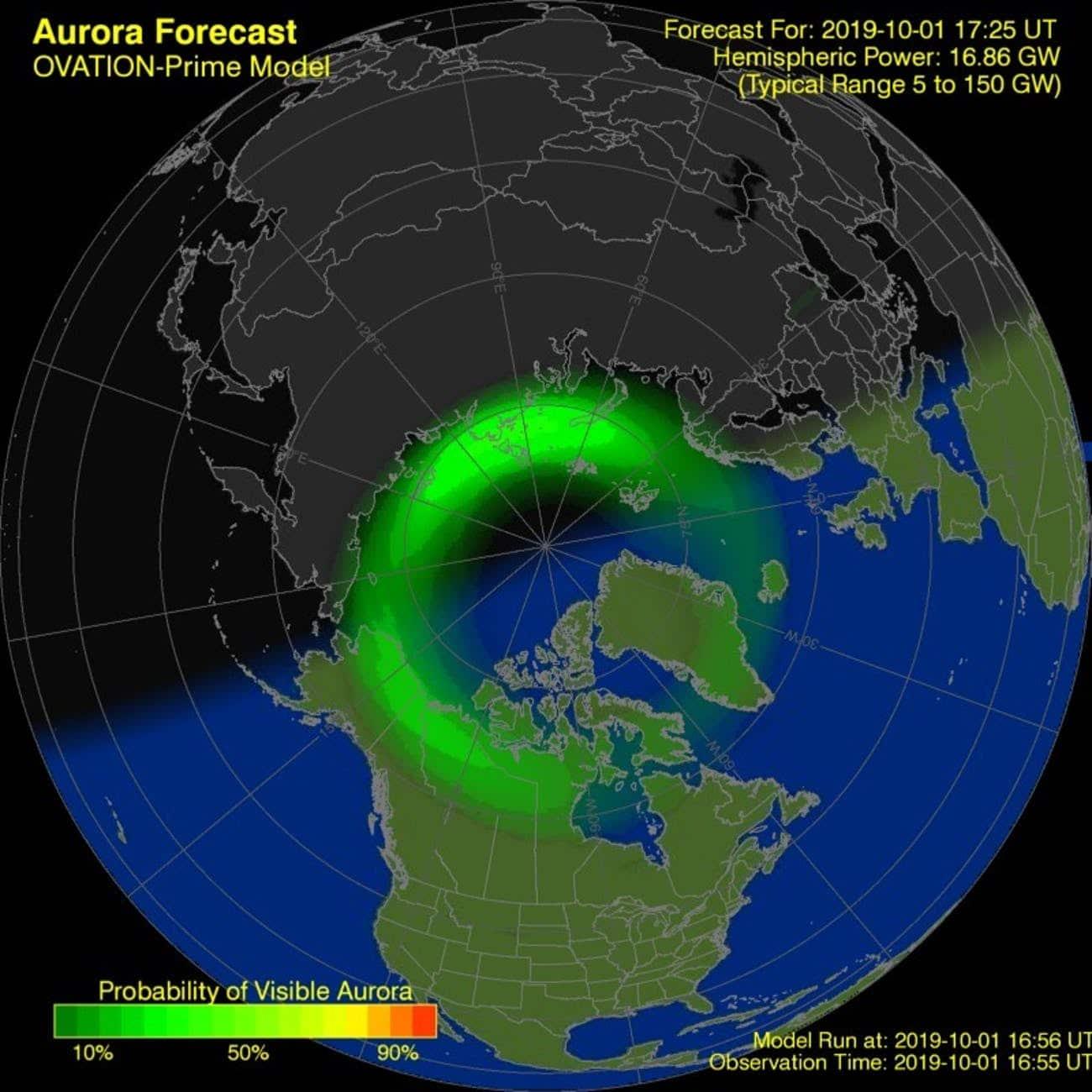 Mapa de predicción de auroras boreales