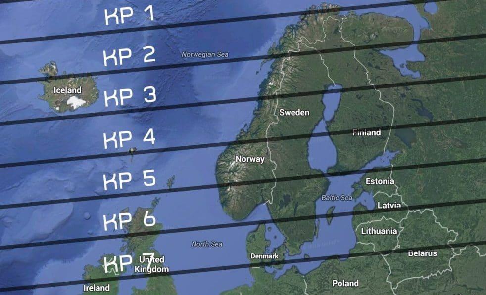 A mayor índice KP, mayor intensidad y más al sur se pueden ver las auroras