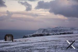 Los preciosos acantilados en invierno de Cabo Norte o Nordkapp