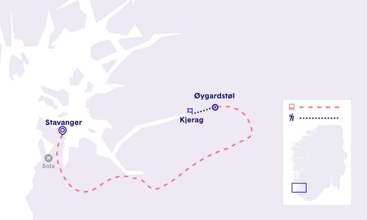 Ruta de Stavanger a Kjerag