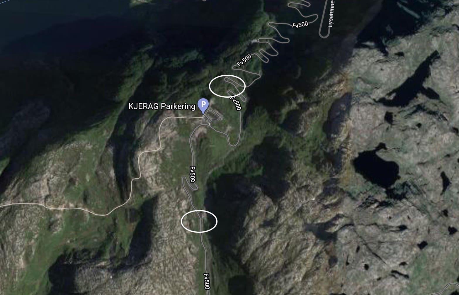 Los dos puntos de parking gratuito en Kjerag