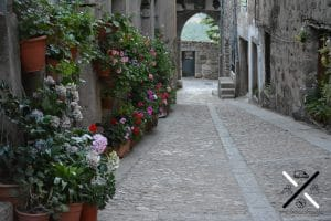 Flores adornando las calles de Miranda del Castañar y los arcos que dan salida de la muralla que la rodea