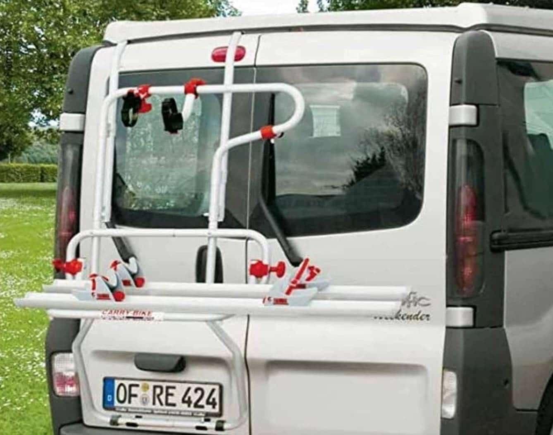 Portabicicletas de doble puerta como las furgonetas camper Opel Vivaro o Renault Trafic