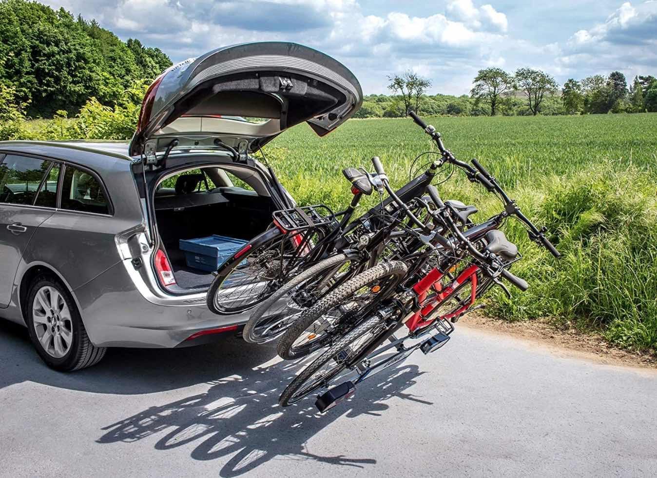 Portabicicletas para rueda de remolque de coche abatible