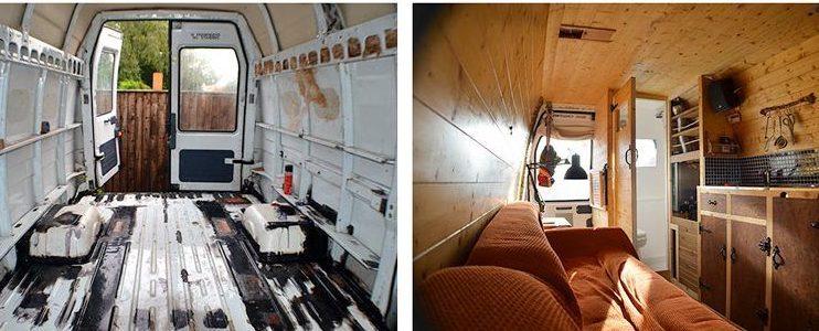 Una camper está construida sobre un furgón de carga