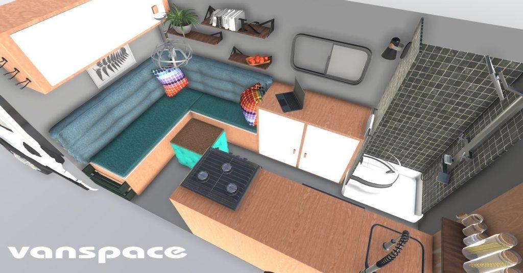 Diseño Interior de una camper con baño
